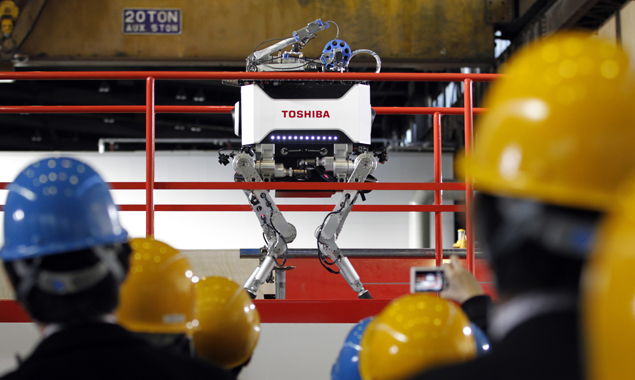 Japan's new nuclear-proof robot gets stage fright