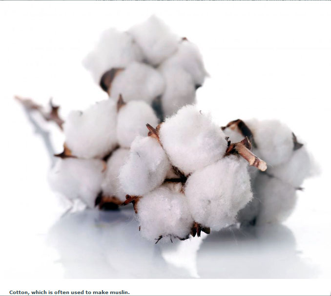 Cotton, which is often used to make muslin