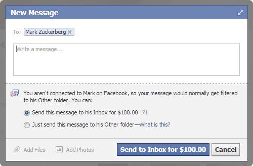 $100 to Message Mark Zuckerberg Facebook