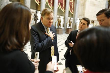 U.S. Representative Mike Rogers talks to reporters at the U.S. Capitol in Washington