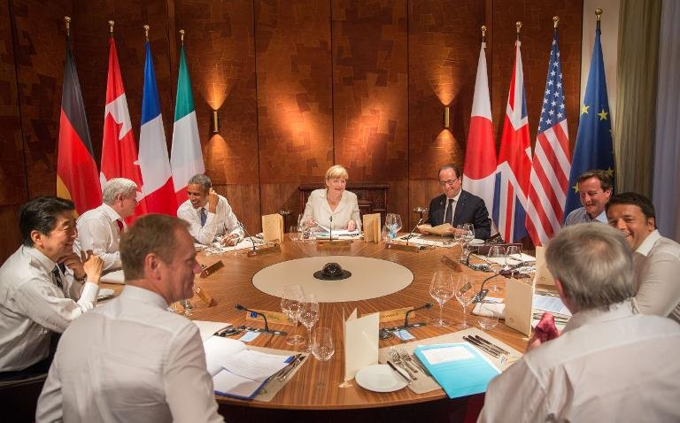 Leaders of the G7 attend a working dinner at a G7 summit at the Elmau Castle : AFP #thenewscompany
