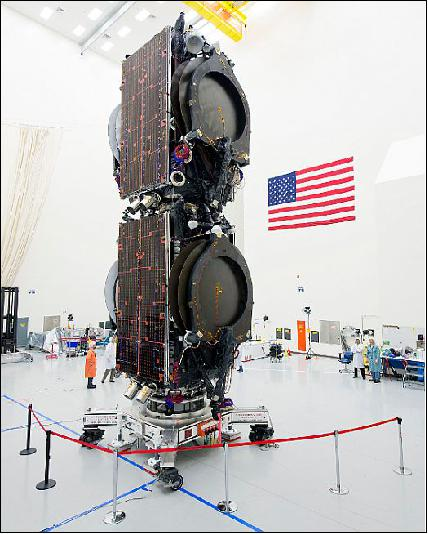 Photo of the two satellites ABS-3A and Eutelsat 115 West B at Boeing premises in stacked launch configuration (image credit: Boeing)
